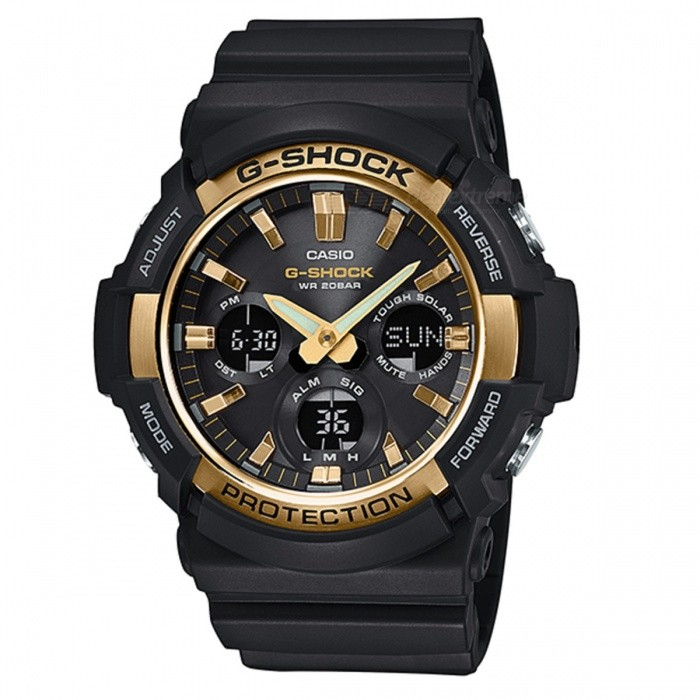 Casio G-Shock GAS-100G-1A Standard Analog Digital Watch - Black + GoldSport Watches<br>ColorBlack+GoldModelGAS-100G-1AQuantity1 pieceShade Of ColorBlackCasing MaterialResinWristband MaterialResinSuitable forAdultsGenderMenStyleWrist WatchTypeFashion watchesDisplayAnalog + DigitalMovementDigitalDisplay Format12/24 hour time formatWater ResistantOthers,200-meter water resistanceDial Diameter5.51 cmDial Thickness1.67 cmWristband Length22 cmBand Width2.2 cmBatterySolar poweredPacking List1 x Watch1 x Guide<br>
