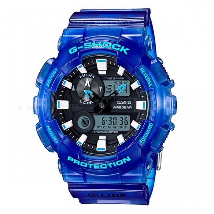 Casio G-Shock GAX-100MSA-2A G-LIDE Series Watch - BlueSport Watches<br>ColorBlueModelGAX-100MSA-2AQuantity1 pieceShade Of ColorBlueCasing MaterialResinWristband MaterialResinSuitable forAdultsGenderMenStyleWrist WatchTypeFashion watchesDisplayAnalog + DigitalMovementDigitalDisplay Format12/24 hour time formatWater ResistantOthers,200-meter water resistanceDial Diameter5.5 cmDial Thickness1.69 cmWristband Length22 cmBand Width2.2 cmBattery2 ? SR927WPacking List1 x Watch1 x Guide<br>