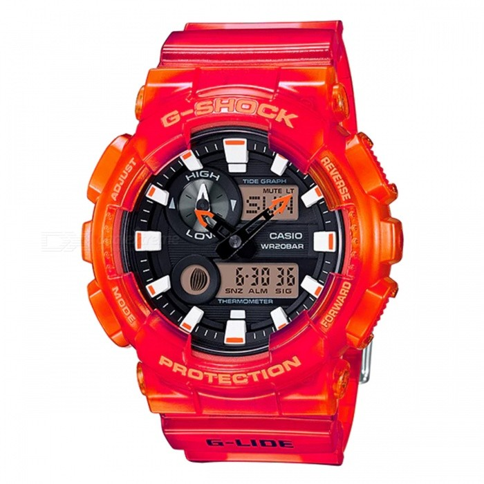 Casio G-Shock GAX-100MSA-4A G-LIDE Series Watch - Red + BlackSport Watches<br>ColorRed + BlackModelGAX-100MSA-4AQuantity1 pieceShade Of ColorRedCasing MaterialResinWristband MaterialResinSuitable forAdultsGenderMenStyleWrist WatchTypeFashion watchesDisplayAnalog + DigitalMovementDigitalDisplay Format12/24 hour time formatWater ResistantOthers,200-meter water resistanceDial Diameter5.5 cmDial Thickness1.69 cmWristband Length22 cmBand Width2.2 cmBattery2 ? SR927WPacking List1 x Watch1 x Guide<br>