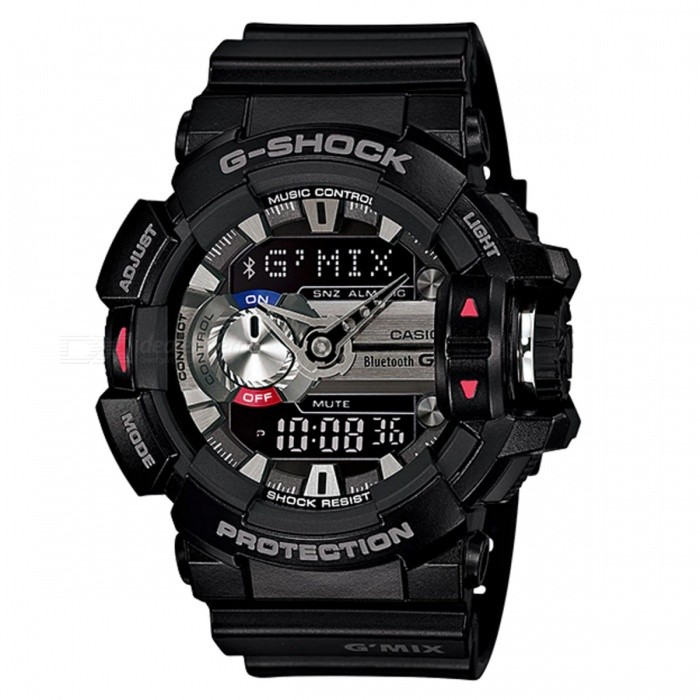 Casio G-Shock GBA-400-1A G Mix Bluetooth Music Watch - BlackSport Watches<br>ColorBlackModelGBA-400-1AQuantity1 pieceShade Of ColorBlackCasing MaterialResinWristband MaterialResinSuitable forAdultsGenderMenStyleWrist WatchTypeFashion watchesDisplayAnalog + DigitalMovementDigitalDisplay Format12/24 hour time formatWater ResistantOthers,200-meter water resistanceDial Diameter5.5 cmDial Thickness1.83 cmWristband Length22 cmBand Width2.2 cmBattery2 ? SR927WPacking List1 x Watch1 x Guide<br>