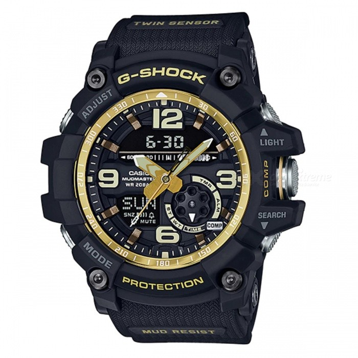 Casio G-Shock GG-1000GB-1A Master of G Mudmaster Series Watch - Black + GoldSport Watches<br>ColorBlack + GoldModelGG-1000GB-1AQuantity1 pieceShade Of ColorBlackCasing MaterialResinWristband MaterialResinSuitable forAdultsGenderMenStyleWrist WatchTypeFashion watchesDisplayAnalog + DigitalMovementDigitalDisplay Format12/24 hour time formatWater ResistantOthers,200-meter water resistanceDial Diameter5.62 cmDial Thickness1.73 cmWristband Length22 cmBand Width2.2 cmBattery2 ? SR927WPacking List1 x Watch1 x Guide<br>