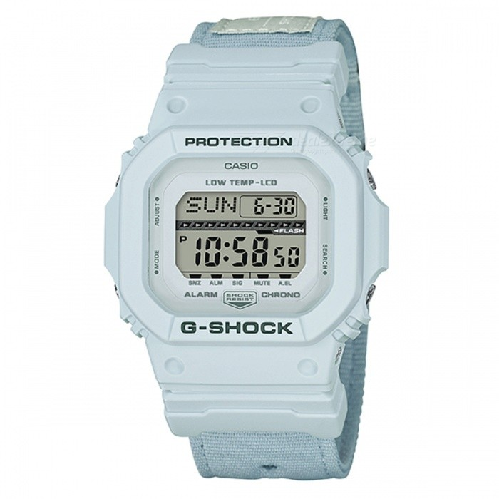 Casio G-Shock GLS-5600CL-7 G-LIDE Series Sports Watch - WhiteSport Watches<br>ColorWhiteModelGLS-5600CL-7Quantity1 pieceShade Of ColorWhiteCasing MaterialResinWristband MaterialClothSuitable forAdultsGenderMenStyleWrist WatchTypeFashion watchesDisplayDigitalMovementDigitalDisplay Format12/24 hour time formatWater ResistantOthers,200-meter water resistanceDial Diameter4.67 cmDial Thickness1.27 cmWristband Length22 cmBand Width2.2 cmBattery1 x  CR2025Packing List1 x Watch1 x Guide<br>
