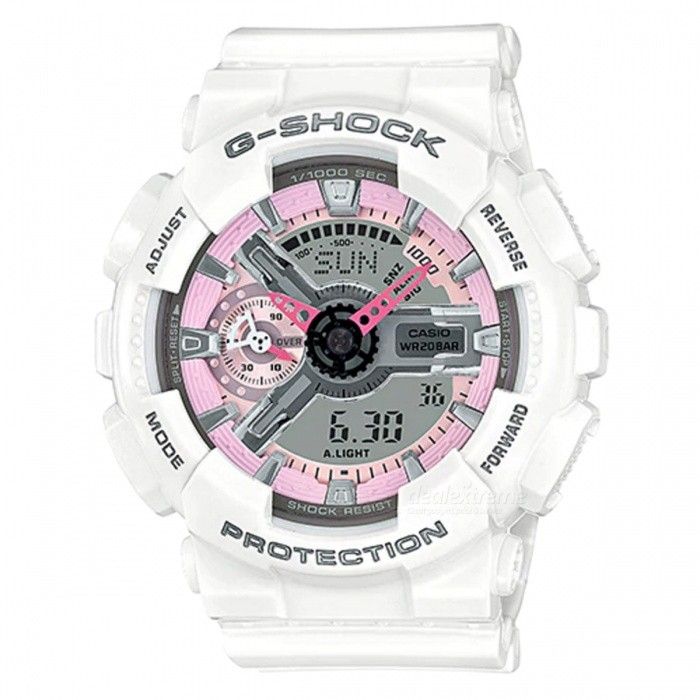 Casio G-Shock GMA-S110MP-7A Resin Quartz Ladies Watch - White + PinkSport Watches<br>ColorWhite + PinkModelGMA-S110MP-7AQuantity1 pieceShade Of ColorWhiteCasing MaterialResinWristband MaterialResinSuitable forAdultsGenderWomenStyleWrist WatchTypeFashion watchesDisplayAnalog + DigitalMovementDigitalDisplay Format12/24 hour time formatWater ResistantOthers,200-meter water resistanceDial Diameter4.9 cmDial Thickness4.59 cmWristband Length22 cmBand Width2.2 cmBattery1 x CR1220Packing List1 x Watch1 x Guide<br>