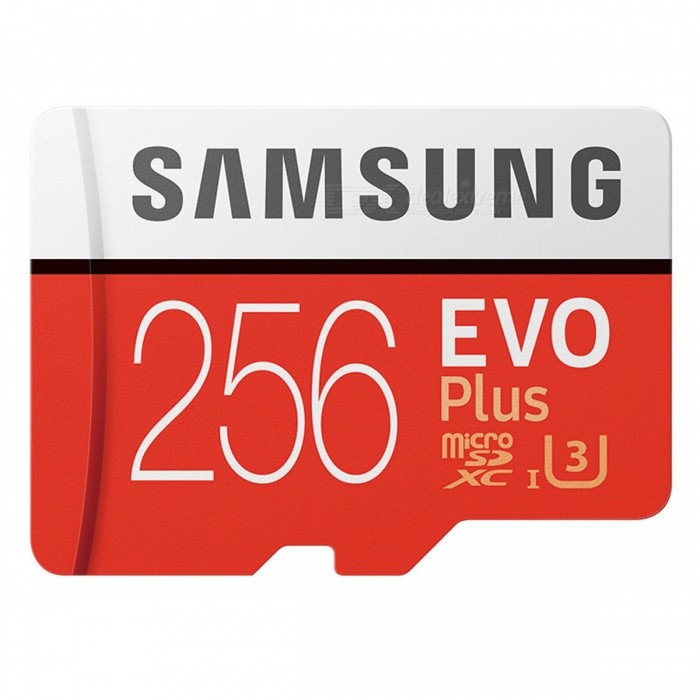 Samsung MicroSDXC EVO Plus Memory Card USH-1 U3 256GB Class10 Up to 100M/S Micro SD Memory Storage CardMicroSD TF Cards<br>Capacity256GBBrandSamsungModelMB-MC256GQuantity1 pieceForm  ColorRedSpeed ClassUHS-I (U3)Max Read Speed100MB/sMax Write Speed90MB/sOverwrite Protection SwitchNoPacking List1 x Samsung Micro SD Card<br>