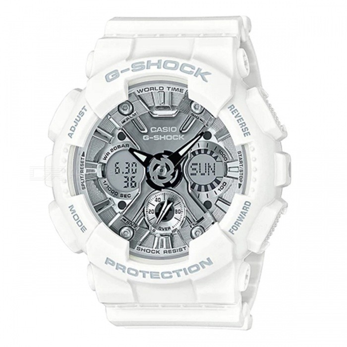 Casio GMA-S120MF-7A1 G-Shock S Series Analog Digital Watch - White + SilverSport Watches<br>ColorWhite + SilverModelGMA-S120MF-7A1Quantity1 pieceShade Of ColorWhiteCasing MaterialResinWristband MaterialResinSuitable forAdultsGenderMenStyleWrist WatchTypeCasual watchesDisplayAnalog + DigitalMovementQuartzDisplay Format12/24 hour time formatWater ResistantOthers,200-meter Water ResistanceDial Diameter4.9 cmDial Thickness1.58 cmWristband Length22 cmBand Width2.2 cmBattery1 x CR1220Packing List1 x GMA-S120MF-7A1<br>