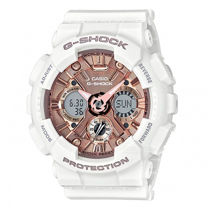 Casio GMA-S120MF-7A2 G-Shock S Series Analog Digital Watch - White + Rose GoldSport Watches<br>ColorWhite + Rose GoldModelGMA-S120MF-7A2Quantity1 pieceShade Of ColorWhiteCasing MaterialResinWristband MaterialResinSuitable forAdultsGenderMenStyleWrist WatchTypeCasual watchesDisplayAnalog + DigitalMovementQuartzDisplay Format12/24 hour time formatWater ResistantOthers,200-meter Water ResistanceDial Diameter4.9 cmDial Thickness1.58 cmWristband Length22 cmBand Width2.2 cmBattery1 x CR1220Other Featureshttp://www.casio-intl.com/asia/en/wat/watch_detail/GMA-S120MF-7A2/Packing List1 x GMA-S120MF-7A2<br>