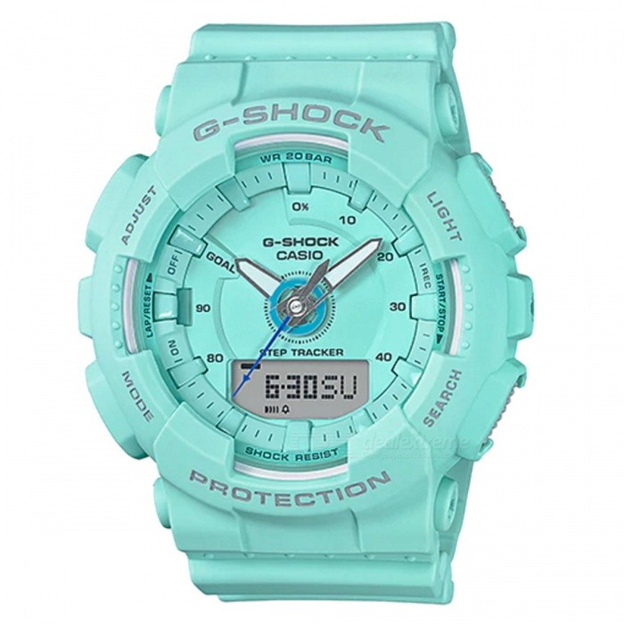 Casio GMA-S130-2A Step Tracker S Series Analog Digital Watch - BlueSport Watches<br>ColorBlueModelGMA-S130-2AQuantity1 pieceShade Of ColorBlueCasing MaterialResinWristband MaterialResinSuitable forAdultsGenderMenStyleWrist WatchTypeCasual watchesDisplayAnalog + DigitalMovementQuartzDisplay Format12/24 hour time formatWater ResistantOthers,200-meter water resistanceDial Diameter4.9 cmDial Thickness1.55 cmWristband Length22 cmBand Width2.2 cmBattery1 x CR2016Packing List1 x GMA-S130-2A<br>