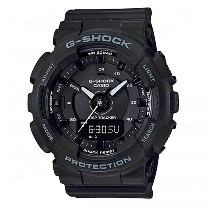 Casio GMA-S130-1A Step Tracker S Series Analog Digital Watch - BlackSport Watches<br>ColorBlackModelGMA-S130-1AQuantity1 pieceShade Of ColorBlackCasing MaterialResinWristband MaterialResinSuitable forAdultsGenderMenStyleWrist WatchTypeCasual watchesDisplayAnalog + DigitalMovementQuartzDisplay Format12/24 hour time formatWater ResistantOthers,200-meter water resistanceDial Diameter4.9 cmDial Thickness1.55 cmWristband Length22 cmBand Width2.2 cmBattery1 x CR2016Packing List1 x GMA-S130-1A<br>