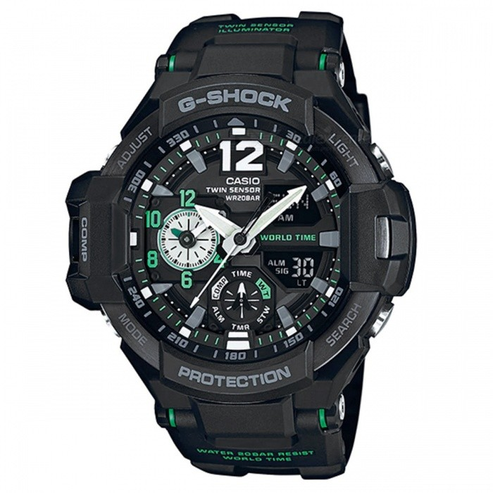 Casio G-Shock GA-1100-1A3  Gravitymaster Mineral Glass Watch - BlackSport Watches<br>ColorBlackModelGA-1100-1A3Quantity1 pieceShade Of ColorBlackCasing MaterialResinWristband MaterialResinSuitable forAdultsGenderUnisexStyleWrist WatchTypeCasual watchesDisplayAnalog + DigitalMovementQuartzDisplay Format12/24 hour time formatWater ResistantOthers,200-meter water resistanceDial Diameter5.08 cmDial Thickness1.69 cmWristband Length22 cmBand Width2.2 cmBattery2 ? SR927WPacking List1 x GA-1100-1A3<br>