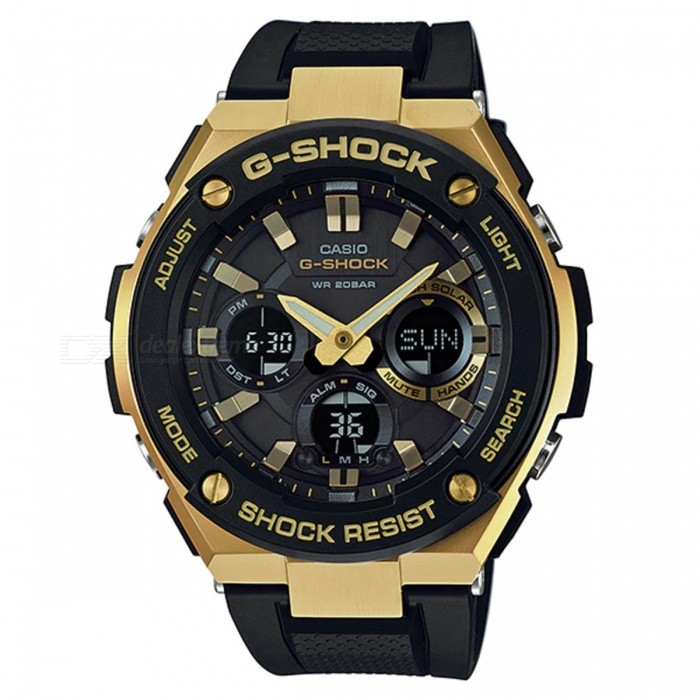 Casio G-Shock GST-S100G-1A G-STEEL Series Watch - Glod + BlackSport Watches<br>ColorGold + BlackModelGST-S100G-1AQuantity1 pieceShade Of ColorGoldCasing MaterialStainless steel and ResinWristband MaterialResinSuitable forAdultsGenderMenStyleWrist WatchTypeFashion watchesDisplayDigitalMovementQuartzDisplay Format12/24 hour time formatWater ResistantOthers,200-meter water resistanceDial Diameter5.91 cmDial Thickness1.61 cmWristband Length22 cmBand Width2.2 cmBatterySolar poweredPacking List1 x GST-S100G-1A<br>