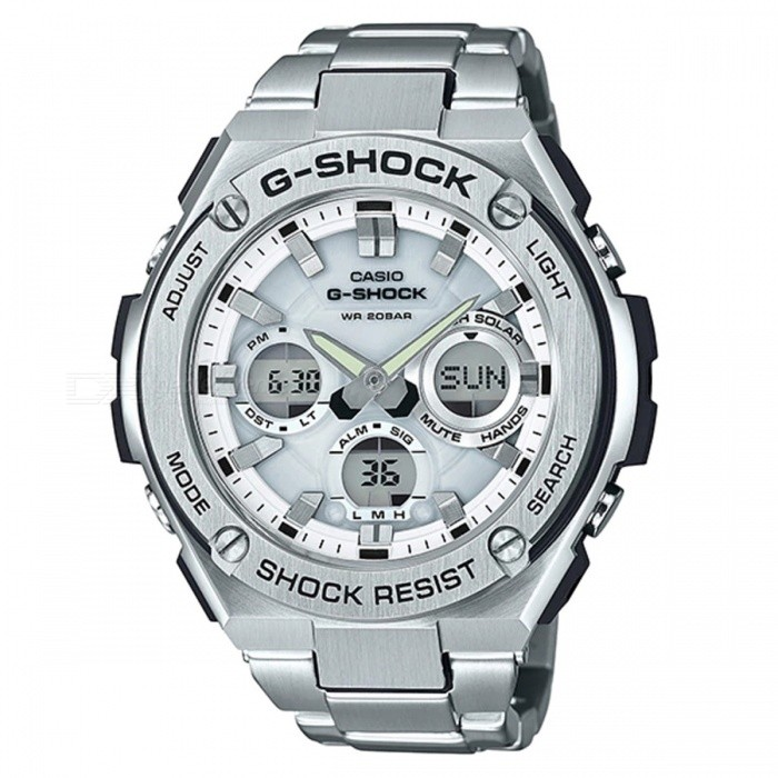 Casio G-Shock GST-S110D-7A Quartz Resin and Stainless Steel Casual Watch - SilverSport Watches<br>ColorSilverModelGST-S110D-7AQuantity1 pieceShade Of ColorSilverCasing MaterialResin and Stainless steelWristband MaterialStainless SteelSuitable forAdultsGenderMenStyleWrist WatchTypeCasual watchesDisplayAnalog + DigitalMovementQuartzDisplay Format12/24 hour time formatWater ResistantOthers,200-meter water resistanceDial Diameter5.91 cmDial Thickness1.61 cmWristband Length22 cmBand Width2.2 cmBatterySolar poweredPacking List1 x GST-S110D-7A<br>