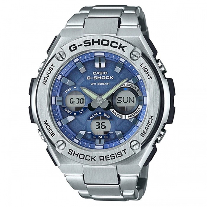 Casio G-Shock GST-S110D-2A Quartz Resin and Stainless Steel Casual Watch - Silver + BlueSport Watches<br>ColorSilver + BlueModelGST-S110D-2AQuantity1 pieceShade Of ColorBlueCasing MaterialResin and Stainless steelWristband MaterialStainless SteelSuitable forAdultsGenderMenStyleWrist WatchTypeCasual watchesDisplayAnalog + DigitalMovementQuartzDisplay Format12/24 hour time formatWater ResistantOthers,200-meter water resistanceDial Diameter5.91 cmDial Thickness1.61 cmWristband Length22 cmBand Width2.2 cmBatterySolar poweredPacking List1 x GST-S110D-2A<br>