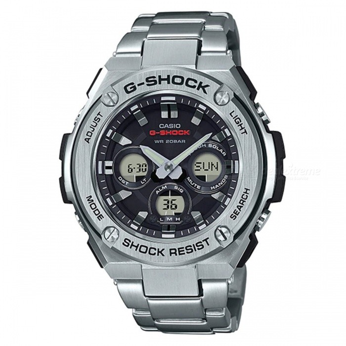 Casio G-Shock GST-S310D-1A Tough Solar Watch - SilverSport Watches<br>ColorSilverModelGST-S310D-1AQuantity1 pieceShade Of ColorSilverCasing MaterialResinWristband MaterialStainless SteelSuitable forAdultsGenderMenStyleWrist WatchTypeCasual watchesDisplayAnalog + DigitalMovementQuartzDisplay Format12/24 hour time formatWater ResistantOthers,200-meter water resistanceDial Diameter5.59 cmDial Thickness1.53 cmWristband Length22 cmBand Width2.2 cmBatterySolar poweredPacking List1 x GST-S310D-1A<br>