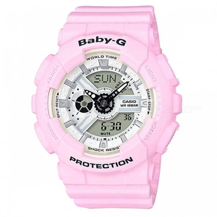 Casio Baby-G BA-110BE-4A Standard Analog Digital Watch - Pink Strap and Pink CaseSport Watches<br>ColorPink Strap &amp; Pink CaseModelBA-110BE-4AQuantity1 pieceShade Of ColorPinkCasing MaterialResinWristband MaterialResinSuitable forAdultsGenderWomenStyleWrist WatchTypeCasual watchesDisplayAnalog + DigitalMovementQuartzDisplay Format12/24 hour time formatWater ResistantOthers,100-meter water resistanceDial Diameter4.63 cmDial Thickness1.58 cmWristband Length22 cmBand Width2.2 cmBattery2 x SR726WPacking List1 x BA-110BE-4A<br>