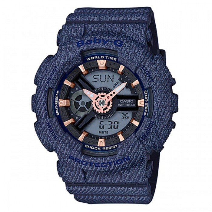Casio Baby-G BA-110DE-2A1 Ladies Watch - Dark Blue DenimSport Watches<br>ColorDark Blue DenimModelBA-110DE-2A1Quantity1 pieceShade Of ColorBlueCasing MaterialResinWristband MaterialResinSuitable forAdultsGenderWomenStyleWrist WatchTypeFashion watchesDisplayAnalog + DigitalMovementQuartzDisplay Format12/24 hour time formatWater ResistantOthers,100-meter water resistanceDial Diameter4.63 cmDial Thickness1.58 cmWristband Length22 cmBand Width2.2 cmBattery2 ? SR726WPacking List1 x BA-110DE-2A1 Watch<br>
