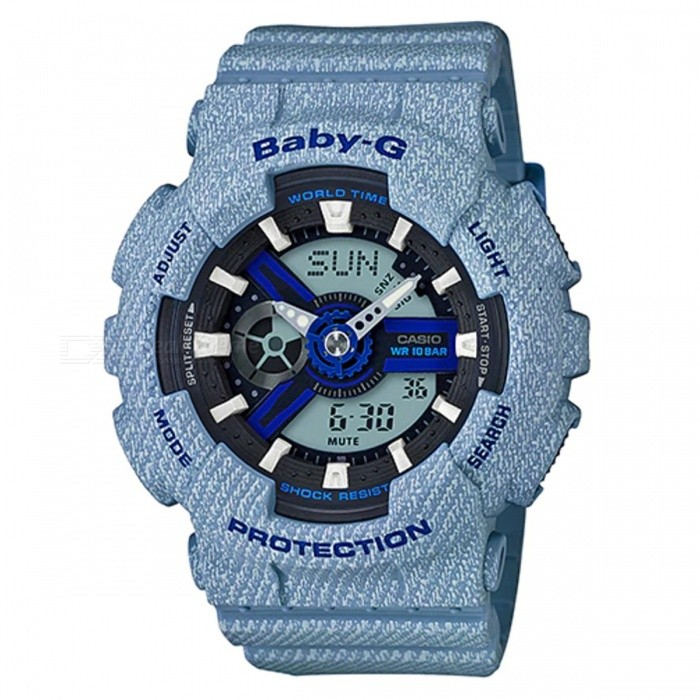 Casio Baby-G BA-110DE-2A2 Ladies Watch - Light Blue DenimSport Watches<br>ColorLight Blue DenimModelBA-110DE-2A2Quantity1 pieceShade Of ColorBlueCasing MaterialResinWristband MaterialResinSuitable forAdultsGenderWomenStyleWrist WatchTypeFashion watchesDisplayAnalog + DigitalMovementQuartzDisplay Format12/24 hour time formatWater ResistantOthers,100-meter water resistanceDial Diameter4.63 cmDial Thickness1.58 cmWristband Length22 cmBand Width2.2 cmBattery2 x SR726WPacking List1 x BA-110DE-2A2<br>