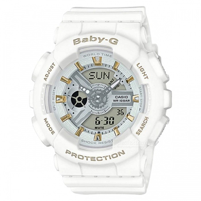 Casio Baby-G BA-110GA-7A1 Adult Watch - WhiteSport Watches<br>ColorWhiteModelBA-110GA-7A1Quantity1 pieceShade Of ColorWhiteCasing MaterialResinWristband MaterialResinSuitable forAdultsGenderUnisexStyleWrist WatchTypeFashion watchesDisplayAnalog + DigitalMovementQuartzDisplay Format12/24 hour time formatWater ResistantOthers,100-meter water resistanceDial Diameter4.63 cmDial Thickness1.58 cmWristband Length22 cmBand Width2.2 cmBattery2 x SR726WPacking List1 x BA-110GA-7A1<br>