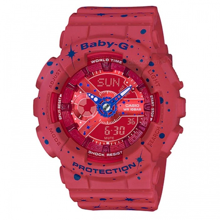 Casio Baby-G BA-110ST-4A Analog Digital Watch - Fashionable RedSport Watches<br>ColorFashionable RedModelBA-110ST-4AQuantity1 pieceShade Of ColorRedCasing MaterialResinWristband MaterialResinSuitable forAdultsGenderUnisexStyleWrist WatchTypeFashion watchesDisplayAnalog + DigitalMovementQuartzDisplay Format12/24 hour time formatWater ResistantOthers,100-meter water resistanceDial Diameter4.63 cmDial Thickness1.58 cmWristband Length22 cmBand Width2.2 cmBattery2 ? SR726WPacking List1 x BA-110ST-4A Watch<br>