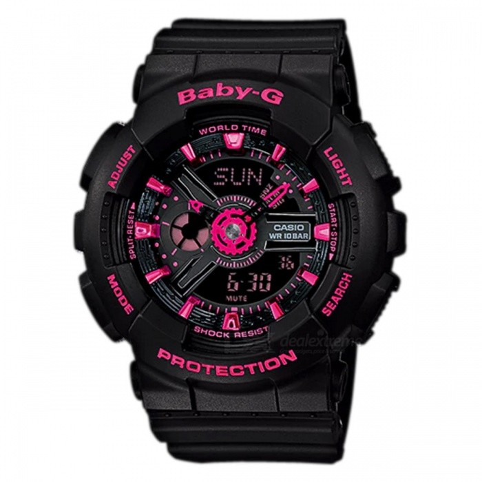 Casio Baby-G BA-111-1A Ladies Wrist Watch - Black + PinkSport Watches<br>ColorBlack + PinkModelBA-111-1AQuantity1 pieceShade Of ColorBlackCasing MaterialResinWristband MaterialResinSuitable forAdultsGenderUnisexStyleWrist WatchTypeCasual watchesDisplayAnalog + DigitalMovementQuartzDisplay Format12/24 hour time formatWater ResistantOthers,100-meter water resistanceDial Diameter4.63 cmDial Thickness1.58 cmWristband Length22 cmBand Width2.2 cmBattery2 x SR726WPacking List1 x BA-111-1A<br>