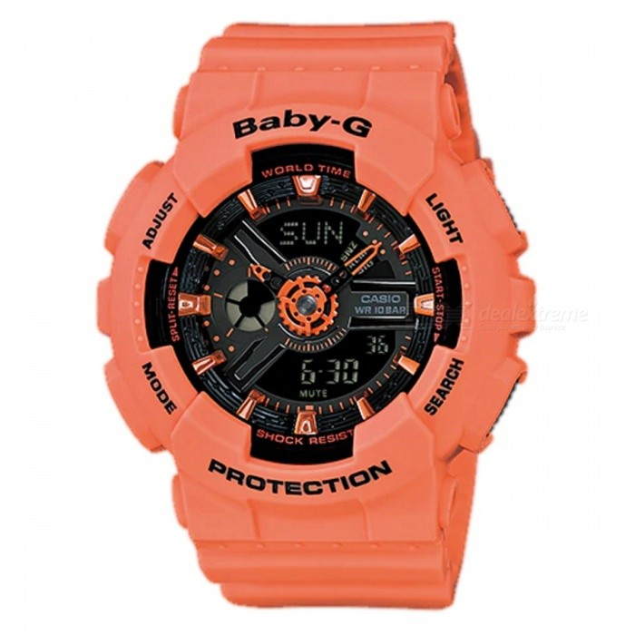 Casio Baby-G BA-111-4A2 Ladies Wrist Watch - OrangeSport Watches<br>ColorOrangeModelBA-111-4A2Quantity1 pieceShade Of ColorOrangeCasing MaterialResinWristband MaterialResinSuitable forAdultsGenderUnisexStyleWrist WatchTypeCasual watchesDisplayAnalog + DigitalMovementQuartzDisplay Format12/24 hour time formatWater ResistantOthers,100-meter water resistanceDial Diameter4.63 cmDial Thickness1.58 cmWristband Length22 cmBand Width2.2 cmBattery2 x SR726WPacking List1 x BA-111-4A2<br>