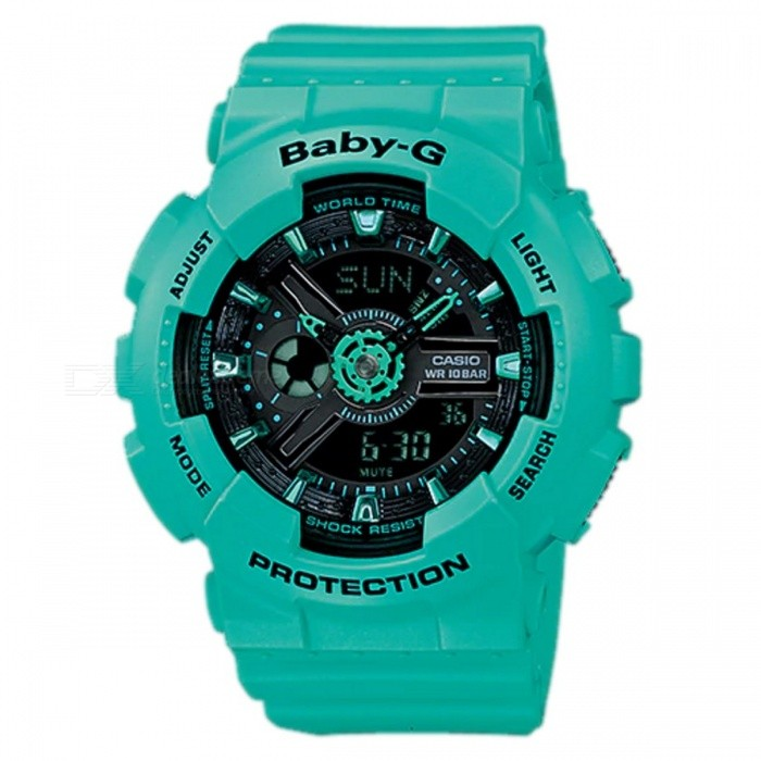Casio Baby-G BA-111-3A Ladies Wrist Watch - GreenSport Watches<br>ColorGreenModelBA-111-3AQuantity1 pieceShade Of ColorGreenCasing MaterialResinWristband MaterialResinSuitable forAdultsGenderUnisexStyleWrist WatchTypeCasual watchesDisplayAnalog + DigitalMovementQuartzDisplay Format12/24 hour time formatWater ResistantOthers,100-meter water resistanceDial Diameter4.63 cmDial Thickness1.58 cmWristband Length22 cmBand Width2.2 cmBattery2 x SR726WPacking List1 x BA-111-3A<br>