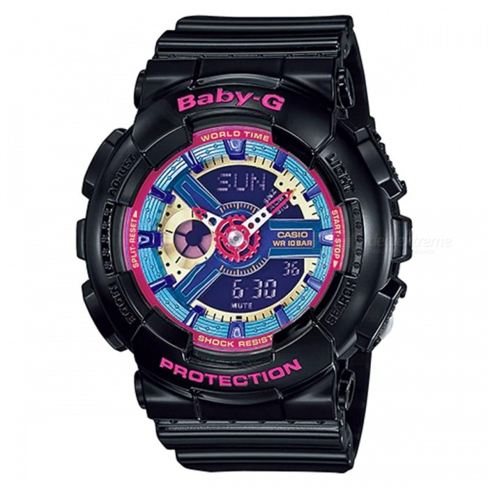 Casio Baby-G BA-112-1A Quartz Womens Watch - Multicolor Dial BlackSport Watches<br>ColorMulticolor Dial BlackModelBA-112-1AQuantity1 pieceShade Of ColorBlackCasing MaterialResinWristband MaterialResinSuitable forAdultsGenderUnisexStyleWrist WatchTypeCasual watchesDisplayAnalog + DigitalMovementQuartzDisplay Format12/24 hour time formatWater ResistantOthers,100-meter water resistanceDial Diameter4.63 cmDial Thickness1.58 cmWristband Length22 cmBand Width2.2 cmBattery2 ? SR726WPacking List1 x BA-112-1A Watch<br>