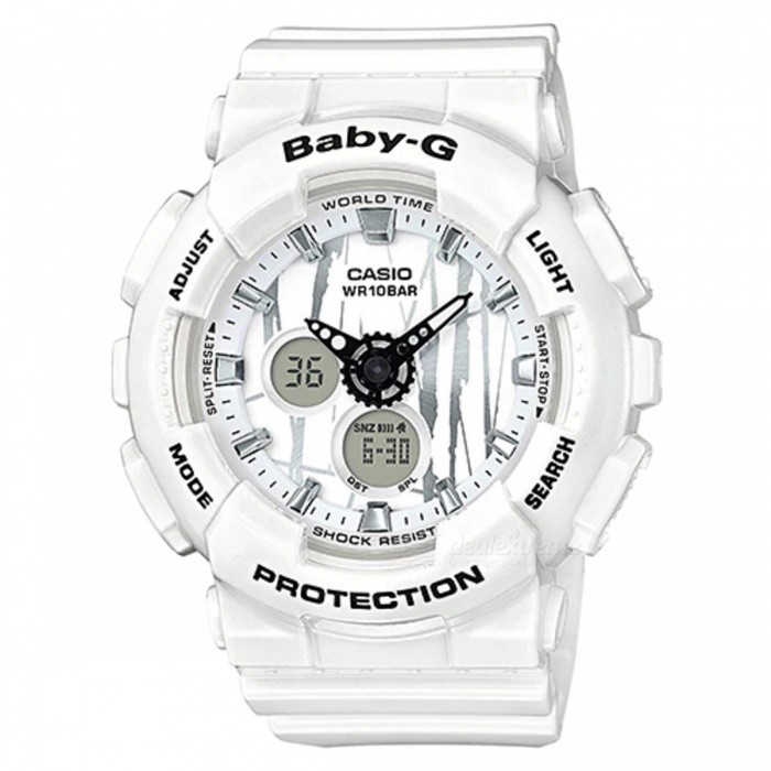 Casio Baby-G BA-120SP-7A Standard Analog Digital Watch - WhiteSport Watches<br>ColorWhiteModelBA-120SP-7AQuantity1 pieceShade Of ColorWhiteCasing MaterialResinWristband MaterialResinSuitable forAdultsGenderUnisexStyleWrist WatchTypeCasual watchesDisplayAnalog + DigitalMovementQuartzDisplay Format12/24 hour time formatWater ResistantOthers,100-meter water resistanceDial Diameter4.63 cmDial Thickness1.58 cmWristband Length22 cmBand Width2.2 cmBattery2 x SR726WPacking List1 x BA-120SP-7A<br>