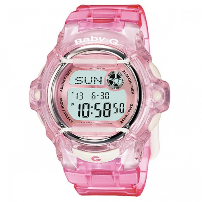 Casio Baby-G BG-169R-4 Standard Digital Watch - PinkSport Watches<br>ColorPinkModelBG-169R-4Quantity1 pieceShade Of ColorPinkCasing MaterialResinWristband MaterialResinSuitable forAdultsGenderUnisexStyleWrist WatchTypeCasual watchesDisplayDigitalMovementDigitalDisplay Format12/24 hour time formatWater ResistantOthers,200-meter water resistanceDial Diameter4.59 cmDial Thickness1.54 cmWristband Length22 cmBand Width2.2 cmBattery1 x CR1616Packing List1 x BG-169R-4<br>
