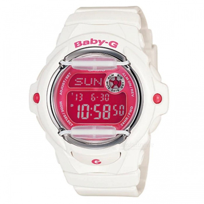 Casio Baby-G BG-169R-7D Standard Digital Watch - White + PinkSport Watches<br>ColorWhite + PinkModelBG-169R-7DQuantity1 pieceShade Of ColorWhiteCasing MaterialResinWristband MaterialResinSuitable forAdultsGenderUnisexStyleWrist WatchTypeCasual watchesDisplayDigitalMovementDigitalDisplay Format12/24 hour time formatWater ResistantOthers,200-meter water resistanceDial Diameter4.59 cmDial Thickness1.54 cmWristband Length22 cmBand Width2.2 cmBattery1 x CR1616Packing List1 x BG-169R-7D<br>