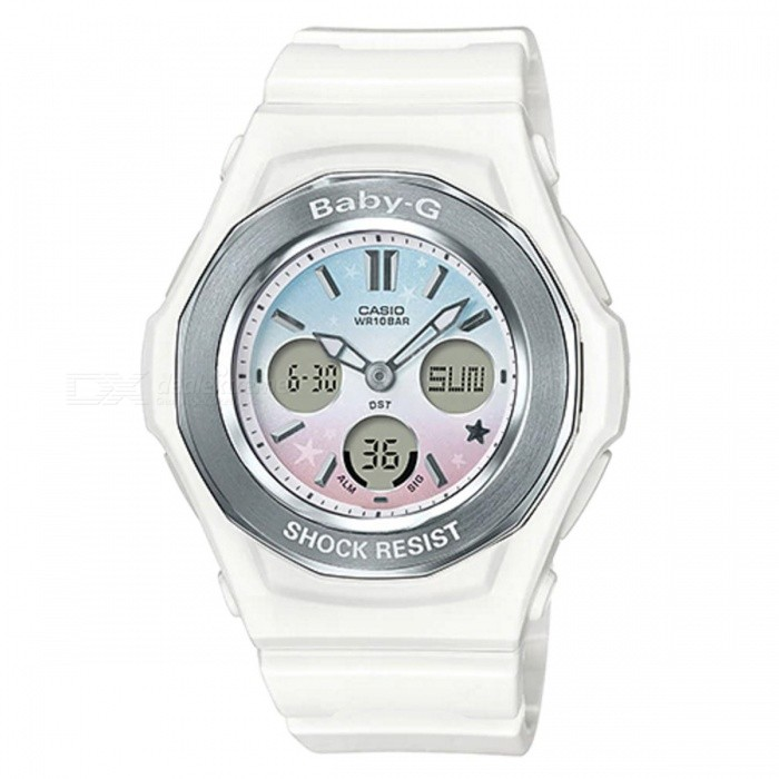 Casio Baby-G BGA-100ST-7A Standard Analog Digital Watch - Pastel WhiteSport Watches<br>ColorPastel WhiteModelBGA-100ST-7AQuantity1 pieceShade Of ColorWhiteCasing MaterialResinWristband MaterialResinSuitable forAdultsGenderUnisexStyleWrist WatchTypeCasual watchesDisplayAnalog + DigitalMovementDigitalDisplay Format12/24 hour time formatWater ResistantOthers,100-meter water resistanceDial Diameter4.36 cmDial Thickness1.31 cmWristband Length22 cmBand Width2.2 cmBattery2 x SR726WPacking List1 x BGA-100ST-7A<br>