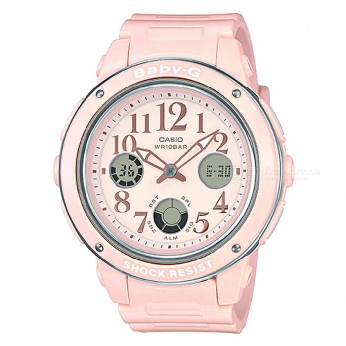 Casio Baby-G BGA-150EF-4B Standard Analog Digital Watch - Pastel PinkSport Watches<br>ColorPastel PinkModelBGA-150EF-4BQuantity1 pieceShade Of ColorPinkCasing MaterialResinWristband MaterialResinSuitable forAdultsGenderUnisexStyleWrist WatchTypeCasual watchesDisplayAnalog + DigitalMovementQuartzDisplay Format12/24 hour time formatWater ResistantOthers,100-meter water resistanceDial Diameter4.75 cmDial Thickness1.28 cmWristband Length22 cmBand Width2.2 cmBattery1 x CR1220Packing List1 x BGA-150EF-4B Watch<br>