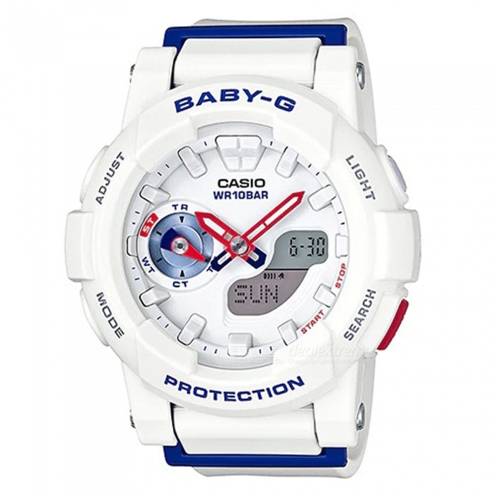 Casio BGA-185TR-7A Baby-G Analog Digital Marine Tricolor Series Watch - WhiteSport Watches<br>ColorWhiteModelBGA-185TR-7AQuantity1 pieceShade Of ColorWhiteCasing MaterialResinWristband MaterialResinSuitable forAdultsGenderUnisexStyleWrist WatchTypeCasual watchesDisplayAnalog + DigitalMovementQuartzDisplay Format12/24 hour time formatWater ResistantOthers,100-meter water resistanceDial Diameter4.93 cmDial Thickness1.54 cmWristband Length22 cmBand Width2.2 cmBattery2 x SR726WPacking List1 x BGA-185TR-7A<br>