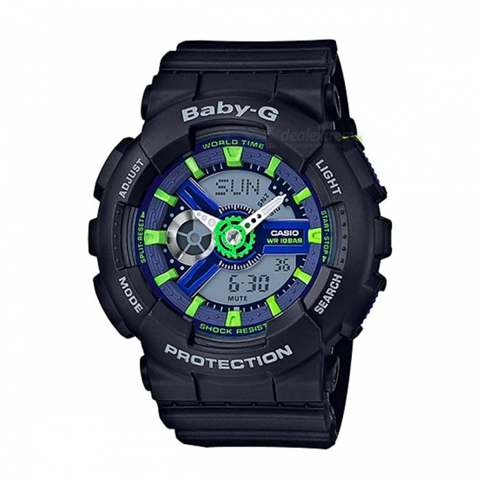 Casio Baby-G BA-110PP-1A Punching Pattern Series Digital Watch - Black + Neon GreenSport Watches<br>ColorBlack + Neon GreenModelBA-110PP-1AQuantity1 pieceShade Of ColorBlackCasing MaterialResinWristband MaterialResinSuitable forAdultsGenderUnisexStyleWrist WatchTypeCasual watchesDisplayAnalog + DigitalMovementQuartzDisplay Format12/24 hour time formatWater ResistantOthers,100-meter Water ResistanceDial Diameter4.63 cmDial Thickness1.58 cmWristband Length22 cmBand Width2.2 cmBattery2 x SR726WPacking List1 x BA-110PP-1A<br>