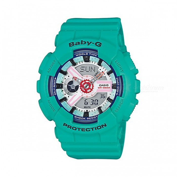 Casio Baby-G BA-110SN-3A LEDlight World Time Sportwatch - GreenSport Watches<br>ColorGreenModelBA-110SN-3AQuantity1 pieceShade Of ColorGreenCasing MaterialResinWristband MaterialResinSuitable forAdultsGenderUnisexStyleWrist WatchTypeCasual watchesDisplayAnalog + DigitalMovementQuartzDisplay Format12/24 hour time formatWater ResistantOthers,100-meter Water ResistanceDial Diameter4.63 cmDial Thickness1.58 cmWristband Length22 cmBand Width2.2 cmBattery2 x SR726WPacking List1 x BA-110SN-3A<br>