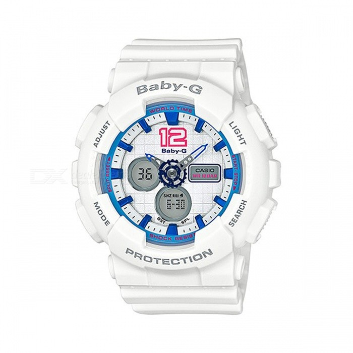 Casio Baby-G BA-120-7B 100m Water Resistance World Time Ana-Digital Watch - White + BlueSport Watches<br>ColorWhite + BlueModelBA-120-7BQuantity1 pieceShade Of ColorWhiteCasing MaterialResinWristband MaterialResinSuitable forAdultsGenderUnisexStyleWrist WatchTypeCasual watchesDisplayAnalog + DigitalMovementQuartzDisplay Format12/24 hour time formatWater ResistantOthers,100-meter Water ResistanceDial Diameter4.63 cmDial Thickness1.58 cmWristband Length22 cmBand Width2.2 cmBattery2 x SR726WPacking List1 x BA-120-7B<br>