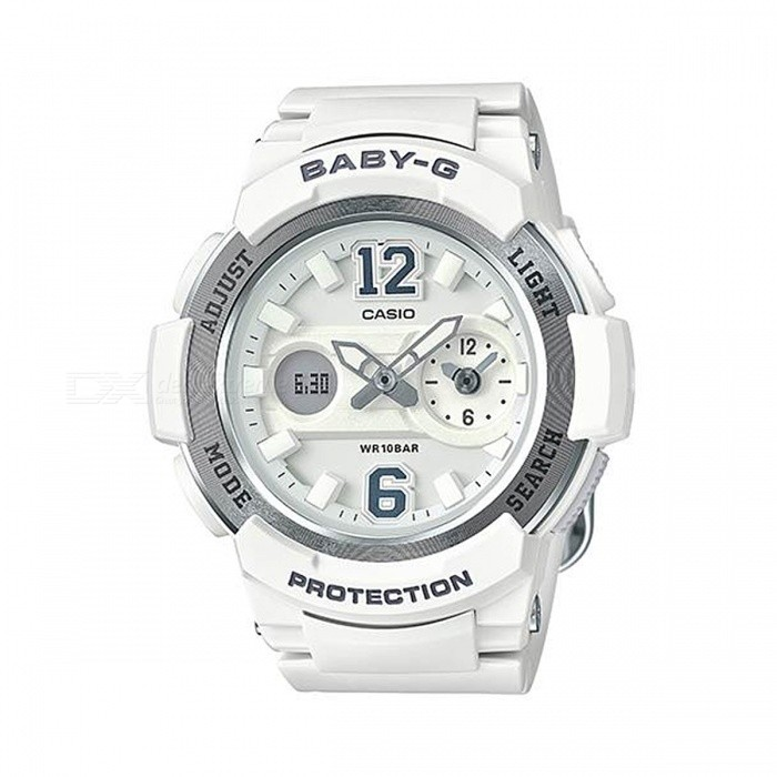 Casio Baby-G BGA-210-7B4 Dual Dial World Time Ana-Digital Watch - WhiteSport Watches<br>ColorWhiteModelBGA-210-7B4Quantity1 pieceShade Of ColorWhiteCasing MaterialResinWristband MaterialResinSuitable forAdultsGenderWomenStyleWrist WatchTypeCasual watchesDisplayAnalog + DigitalMovementDigitalDisplay Format12/24 hour time formatWater ResistantOthers,100-meter water resistanceDial Diameter4.9 cmDial Thickness1.49 cmWristband Length22 cmBand Width2.2 cmBattery2 x SR726WPacking List1 x BGA-210-7B4<br>