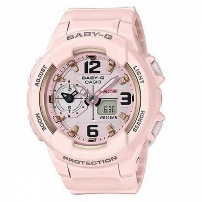 Casio Baby-G BGA-230-4B Standard Analog Digital Watch - PinkSport Watches<br>ColorPinkModelBGA-230SC-4BQuantity1 pieceShade Of ColorPinkCasing MaterialResinWristband MaterialResinSuitable forAdultsGenderUnisexStyleWrist WatchTypeCasual watchesDisplayAnalog + DigitalMovementDigitalDisplay Format12/24 hour time formatWater ResistantOthers,100-meter water resistanceDial Diameter4.89 cmDial Thickness1.53 cmWristband Length22 cmBand Width2.2 cmBattery2 x SR726WPacking List1 x BGA-230SC-4B<br>