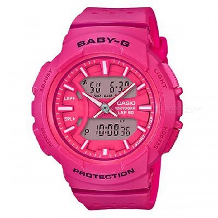 Casio Baby-G BGA-240-4A For Running Series Watch - PinkSport Watches<br>Color PinkModelBGA-240-4AQuantity1 pieceShade Of ColorRedCasing MaterialResinWristband MaterialResinSuitable forAdultsGenderUnisexStyleWrist WatchTypeCasual watchesDisplayAnalog + DigitalMovementQuartzDisplay Format12/24 hour time formatWater ResistantOthers,100-meter water resistanceDial Diameter4.64 cmDial Thickness1.53 cmWristband Length22 cmBand Width2.2 cmBattery1 x CR1220Packing List1 x BGA-240-4A<br>
