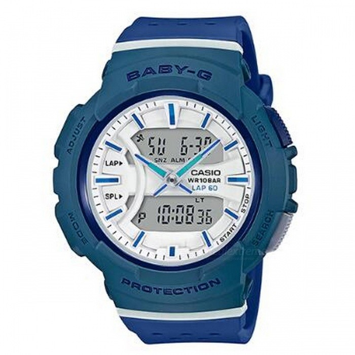 Casio Baby-G BGA-240-2A2 For Running Series Watch - BlueSport Watches<br>ColorBlueModelBGA-240-2A2Quantity1 pieceShade Of ColorBlueCasing MaterialResinWristband MaterialResinSuitable forAdultsGenderUnisexStyleWrist WatchTypeCasual watchesDisplayAnalog + DigitalMovementQuartzDisplay Format12/24 hour time formatWater ResistantOthers,100-meter water resistanceDial Diameter4.64 cmDial Thickness1.53 cmWristband Length22 cmBand Width2.2 cmBattery1 x CR1220Packing List1 x BGA-240-2A2<br>