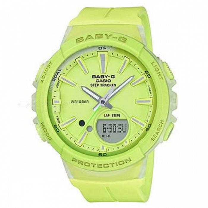 Casio Baby-G BGS-100-9A For Running Series Watch - Lime GreenSport Watches<br>ColorLime GreenModelBGS-100-9AQuantity1 pieceShade Of ColorGreenCasing MaterialResinWristband MaterialResinSuitable forAdultsGenderUnisexStyleWrist WatchTypeCasual watchesDisplayAnalog + DigitalMovementDigitalDisplay Format12/24 hour time formatWater ResistantOthers,100-meter water resistanceDial Diameter4.52 cmDial Thickness1.33 cmWristband Length22 cmBand Width2.2 cmBattery1 x CR2016Packing List1 x BGS-100-9A<br>