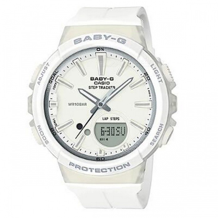 Casio Baby-G BGS-100-7A1 For Running Series Watch - WhiteSport Watches<br>ColorWhiteModelBGS-100-7A1Quantity1 pieceShade Of ColorWhiteCasing MaterialResinWristband MaterialResinSuitable forAdultsGenderUnisexStyleWrist WatchTypeCasual watchesDisplayAnalog + DigitalMovementDigitalDisplay Format12/24 hour time formatWater ResistantOthers,100-meter water resistanceDial Diameter4.52 cmDial Thickness1.33 cmWristband Length22 cmBand Width2.2 cmBattery1 x CR2016Packing List1 x BGS-100-7A1<br>