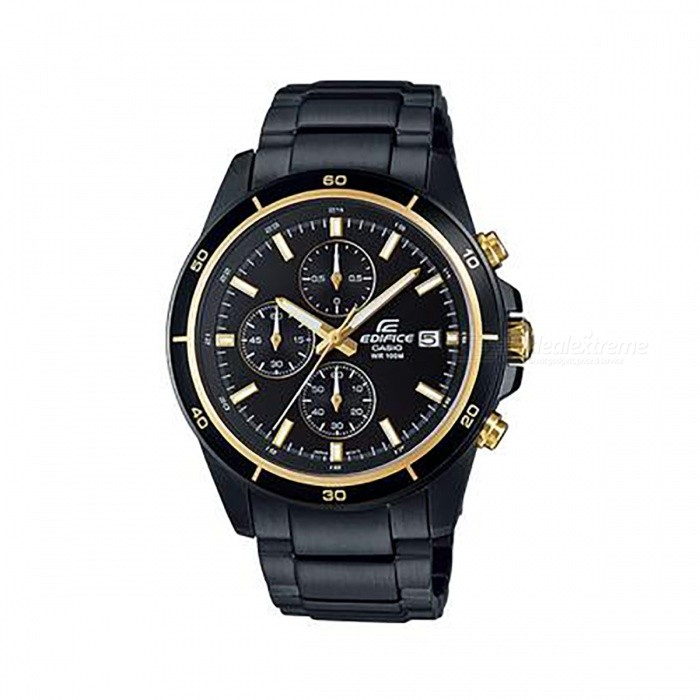 Casio Edifice Chronogtaph EFR-526BK-1A9 Mens Watch - Black + GoldQuartz Watches<br>ColorBlack + GoldModelEFR-526BK-1A9Quantity1 pieceShade Of ColorGoldCasing MaterialStainless steelWristband MaterialSolid and Stainless SteelSuitable forAdultsGenderMenStyleWrist WatchTypeCasual watchesDisplayAnalogMovementQuartzDisplay Format12 hour formatWater ResistantOthers,100-meter water resistanceDial Diameter4.85 cmDial Thickness1.16 cmWristband Length22 cmBand Width1.8 cmBattery1 x SR920SWPacking List1 x EFR-526BK-1A1<br>