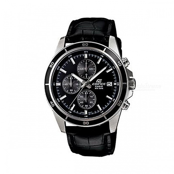 Casio Edifice EFR-526L-1AV Standard Chronogtaph Watch - BlackQuartz Watches<br>ColorBlackModelEFR-526L-1AVQuantity1 pieceShade Of ColorBlackCasing MaterialStainless SteelWristband MaterialGenuine LeatherSuitable forAdultsGenderMenStyleWrist WatchTypeCasual watchesDisplayAnalogMovementQuartzDisplay Format12 hour formatWater ResistantOthers,100-meter water resistanceDial Diameter4.85 cmDial Thickness1.16 cmWristband Length22 cmBand Width1.8 cmBattery1 x SR920SWPacking List1 x EFR-526L-1AV<br>