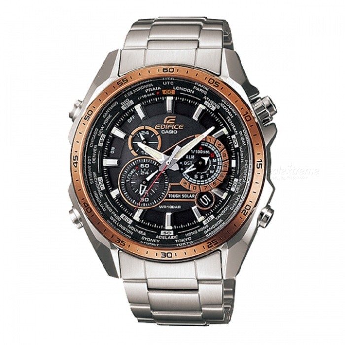 Casio Edifice EQS-500DB-1A2 Perpetual Calendar Solar Power Men Watches - Silver + GoldQuartz Watches<br>ColorSilver + GoldModelEQS-500DB-1A2Quantity1 pieceShade Of ColorGoldCasing MaterialStainless SteelWristband MaterialStainless SteelSuitable forAdultsGenderMenStyleWrist WatchTypeCasual watchesDisplayAnalogMovementQuartzDisplay Format12 hour formatWater ResistantOthers,-meter water resistanceDial Diameter5.0 cmDial Thickness1.23 cmWristband Length22 cmBand Width1.8 cmBatterySolar poweredPacking List1 x EQS-500DB-1A2<br>