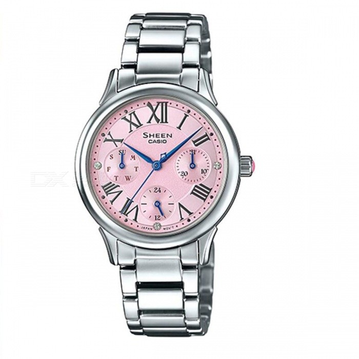 Casio SHE-3049D-4A Multi-Hand Watch - Silver + PinkWomens Dress Watches<br>ColorSilver + PinkModelSHE-3049D-4AQuantity1 pieceShade Of ColorPinkCasing MaterialStainless SteelWristband MaterialStainless SteelGenderWomenSuitable forAdultsStyleWrist WatchTypeFashion watchesDisplayAnalogMovementQuartzDisplay Format12 hour formatWater ResistantWater Resistant 5 ATM or 50 m. Suitable for swimming, white water rafting, non-snorkeling water related work, and fishing.Dial Diameter3.85 cmDial Thickness0.84 cmBand Width0 cmWristband Length0 cmBattery1 x SR920SWPacking List1 x SHE-3049D-4A<br>