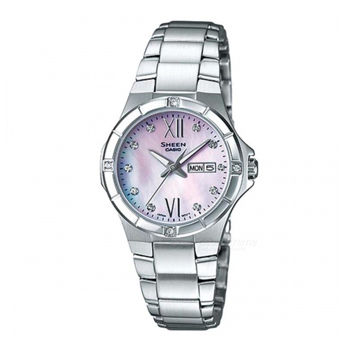 Casio SHE-4022D-4A 3-Hand Analog Watch - Pink Gradation + SilverWomens Dress Watches<br>ColorPink Gradation + SilverModelSHE-4022D-4AQuantity1 pieceShade Of ColorPinkCasing MaterialStainless SteelWristband MaterialStainless SteelGenderWomenSuitable forAdultsStyleWrist WatchTypeFashion watchesDisplayAnalogMovementQuartzDisplay Format12 hour formatWater ResistantWater Resistant 5 ATM or 50 m. Suitable for swimming, white water rafting, non-snorkeling water related work, and fishing.Dial Diameter3.39 cmDial Thickness0.87 cmBand Width0 cmWristband Length0 cmBattery1 x SR621SWPacking List1 x SHE-4022D-4A<br>