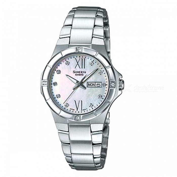Casio SHE-4022D-7A 3-Hand Analog Watch -  SilverWomens Dress Watches<br>ColorSilverModelSHE-4022D-4AQuantity1 pieceShade Of ColorSilverCasing MaterialStainless SteelWristband MaterialStainless SteelGenderWomenSuitable forAdultsStyleWrist WatchTypeFashion watchesDisplayAnalogMovementQuartzDisplay Format12 hour formatWater ResistantWater Resistant 5 ATM or 50 m. Suitable for swimming, white water rafting, non-snorkeling water related work, and fishing.Dial Diameter3.39 cmDial Thickness0.87 cmBand Width0 cmWristband Length0 cmBattery1 x SR621SWPacking List1 x SHE-4022D-4A<br>