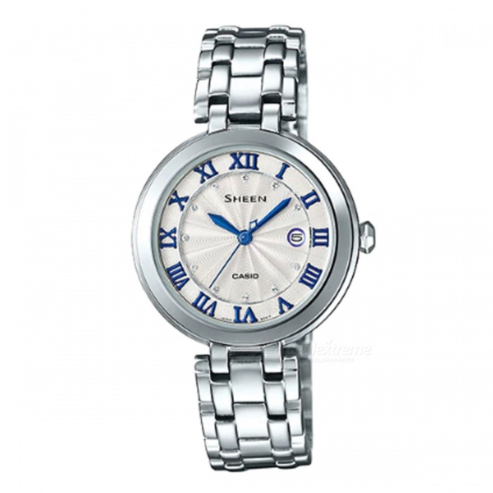 Casio SHE-4033D-7A 3-Hand Analog Watch - SilverWomens Dress Watches<br>ColorSilverModelSHE-4033D-7AQuantity1 pieceShade Of ColorSilverCasing MaterialStainless SteelWristband MaterialStainless SteelGenderWomenSuitable forAdultsStyleWrist WatchTypeFashion watchesDisplayAnalogMovementQuartzDisplay Format12 hour formatWater ResistantWater Resistant 5 ATM or 50 m. Suitable for swimming, white water rafting, non-snorkeling water related work, and fishing.Dial Diameter3.65 cmDial Thickness0.71 cmBand Width0 cmWristband Length0 cmBattery1 x SR621SWPacking List1 x SHE-4033D-7A<br>