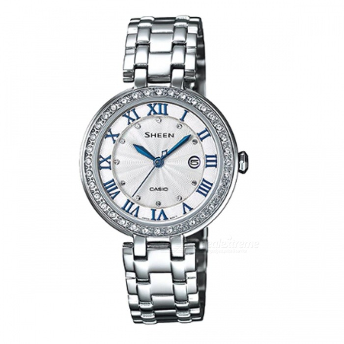 Casio SHE-4034D-7A 3-Hand Analog Watch - SilverWomens Dress Watches<br>ColorSilverModelSHE-4034D-7AQuantity1 pieceShade Of ColorSilverCasing MaterialStainless SteelWristband MaterialStainless SteelGenderWomenSuitable forAdultsStyleWrist WatchTypeFashion watchesDisplayAnalogMovementQuartzDisplay Format12 hour formatWater ResistantWater Resistant 5 ATM or 50 m. Suitable for swimming, white water rafting, non-snorkeling water related work, and fishing.Dial Diameter3.65 cmDial Thickness0.71 cmBand Width0 cmWristband Length0 cmBattery1 x SR621SWPacking List1 x SHE-4034D-7A<br>
