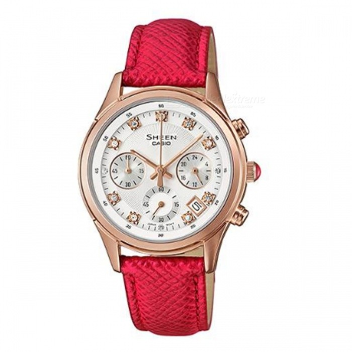 Casio SHE-5023GL-7B Sheen Leather Band Watch - Rose Gold + RedWomens Dress Watches<br>ColorRose Gold + RedModelSHE-5023GL-7BQuantity1 pieceShade Of ColorRedCasing MaterialStainless steelWristband MaterialGenuine LeatherGenderWomenSuitable forAdultsStyleWrist WatchTypeFashion watchesDisplayAnalogMovementQuartzDisplay Format12 hour formatWater ResistantWater Resistant 5 ATM or 50 m. Suitable for swimming, white water rafting, non-snorkeling water related work, and fishing.Dial Diameter3.85 cmDial Thickness1.09 cmBand Width0 cmWristband Length0 cmBattery1 x SR626SWPacking List1 x SHE-5023GL-7B<br>